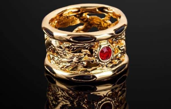 Nhẫn Nam Lông Voi Vàng Chạm Khắc Rồng