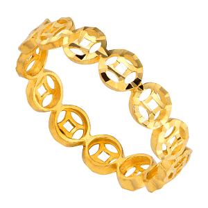 nhẫn kim tiền vàng 24k