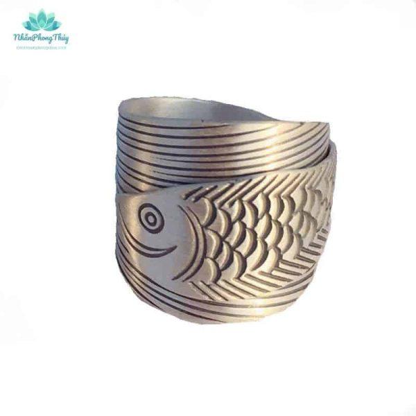 nhẫn cá rồng bạc 999