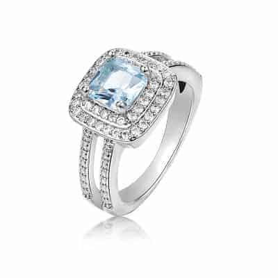 nhẫn nữ mệnh thủy đá topaz xanh dương
