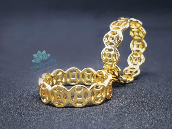 nhẫn kim tiền vàng 18k