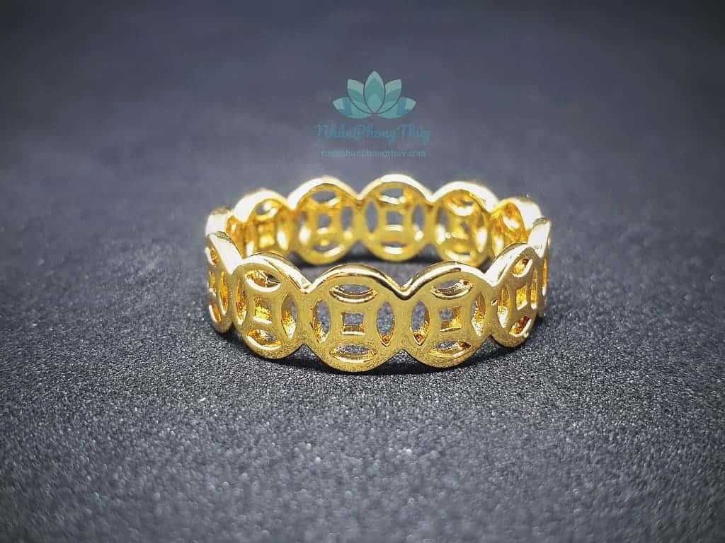 nhẫn kim tiền mạ vàng 18k